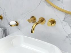 Flova Levo brushed brass wall mounted basin mixer