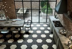 Hexagon floor tiles black and white