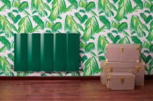 Bisque Lissett radiator green colour matched to wallpaper