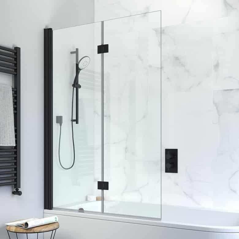 Crosswater Design matt black double folding bath screen carrara marble white tile