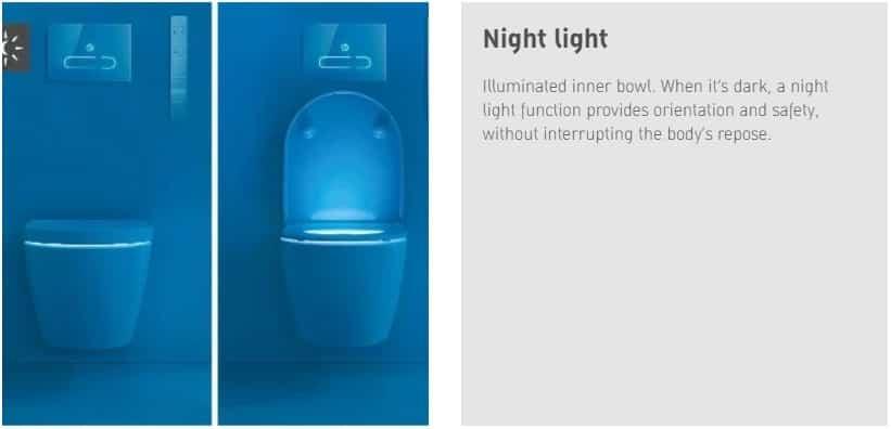 Sensowash toilets Night light