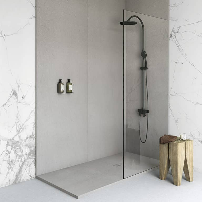Fiora wall panels Silex shower tray