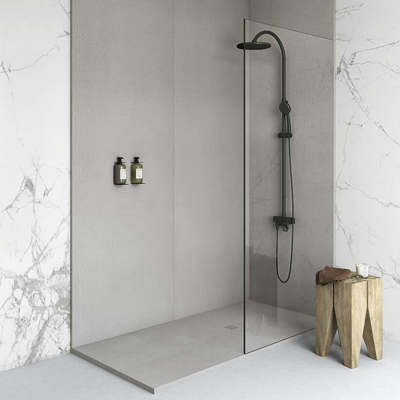 Fiora wall panels Silex shower tray