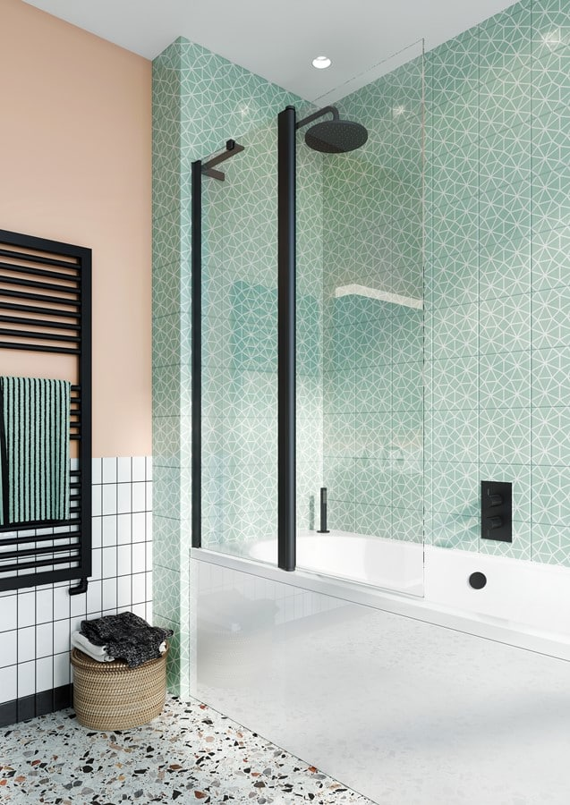 Design 8 Black Bath Screen