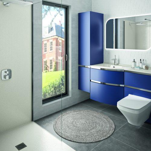 Ambiance Bain wall panels matt white with matching worktop & navy blue furniture